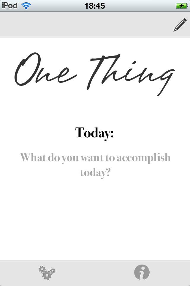 One Thing Productivity App Home Screen